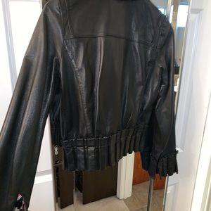 Diane Von Furstenberg Jackets & Coats - Diane Von Furstenberg Ruffle leather bomber